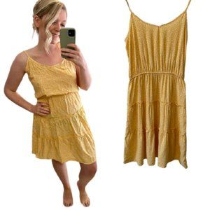 Pink Rose Yellow Tiered Dress - NWT!